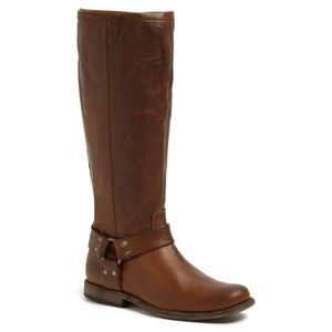 Frye Phillip Brown Leather Harness Tall Boots